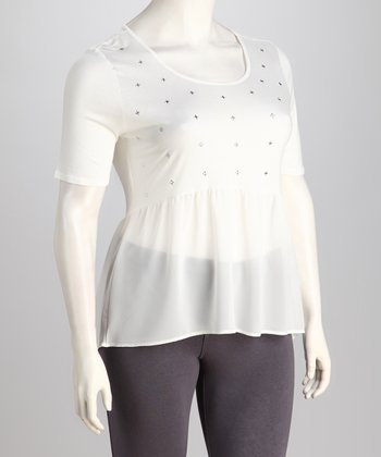 White Cross-Stud Plus-Size Top