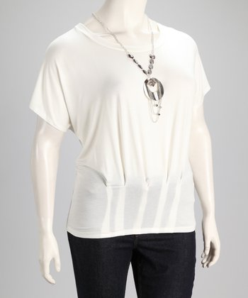 Ivory Plus-Size Top & Silver Pendant Necklace