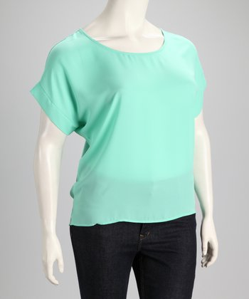 Mint Button-Back Plus-Size Top