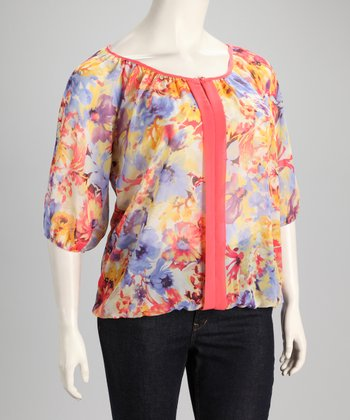Lavender & Coral Sheer Floral Plus-Size Top