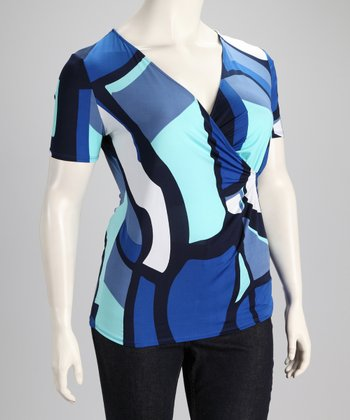 Royal Abstract Plus-Size Surplice Top