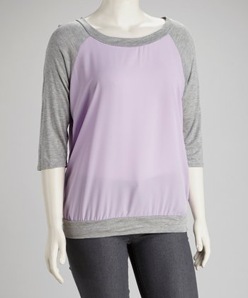 Lavender Back-Tie Raglan Top - Plus