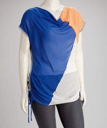 Navy & Rust Color Block Sheer Drape Top - Plus