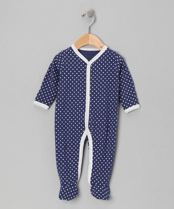 Blue & White Polka Dot Organic Footie