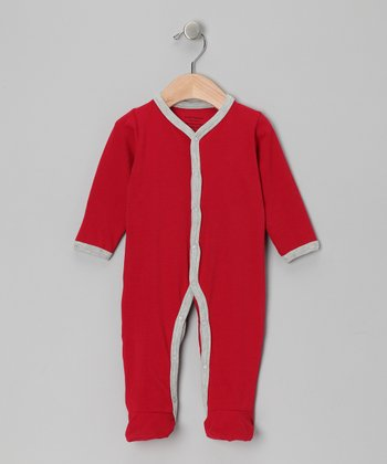 Burgundy & Gray Organic Footie - Infant