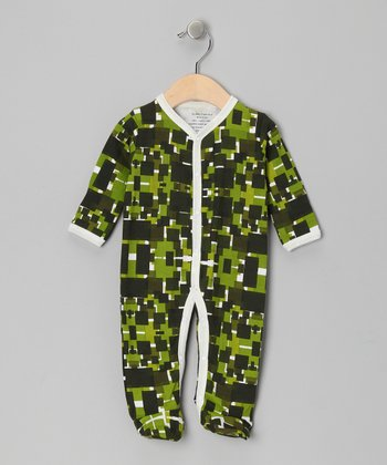 Green Geometric Organic Footie - Infant