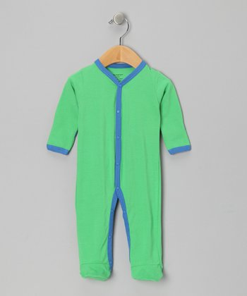 Green & Blue Organic Footie - Infant