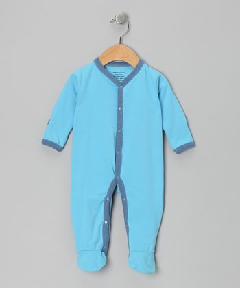 Sky Blue Organic Footie - Infant