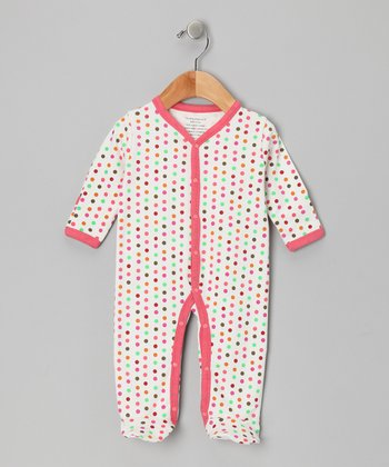 White Polka Dot Organic Footie
