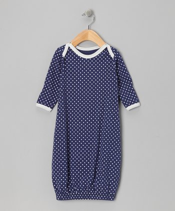 Blue & White Polka Dot Organic Gown