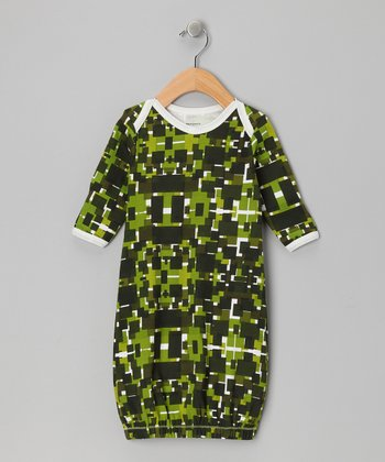 Green Geometric Organic Gown
