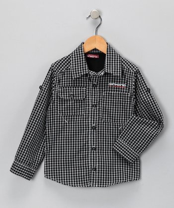 Black Plaid Button-Up Shirt - Toddler & Boys