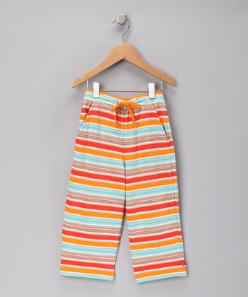 Cocoa & Mandarin Miami Stripe Drawstring Pants - Toddler