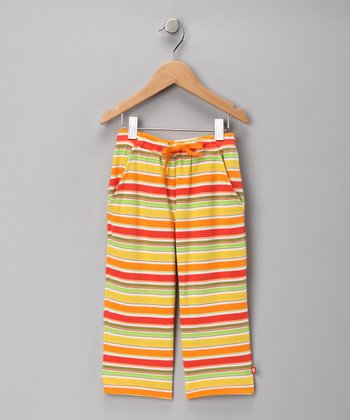 Orange & Lime Fruit Stripe Pants - Toddler