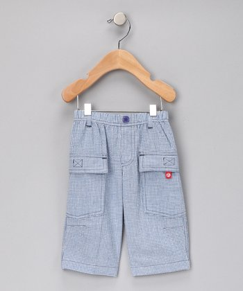 Periwinkle Gingham Cargo Pants - Infant