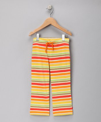 Orange & Lime Fruit Stripe Drawstring Pants - Toddler