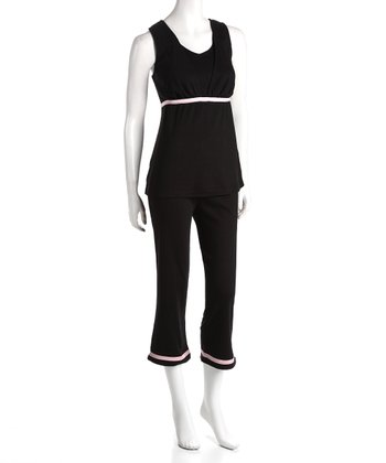 Black Maternity & Nursing Lounge Tank & Pants