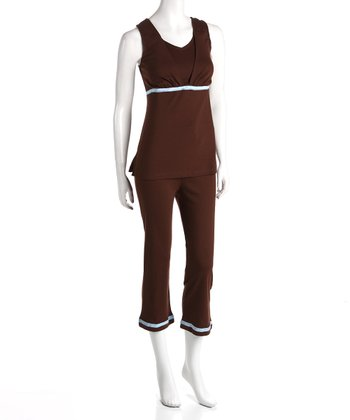 Brown Maternity & Nursing Lounge Tank & Capri Pants - Plus