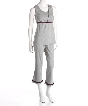 Gray Maternity & Nursing Lounge Tank & Capri Pants - Women & Plus