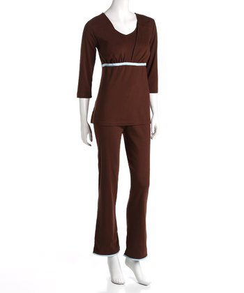 Brown Maternity & Nursing Top & Pants - Women & Plus