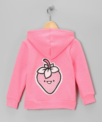 Neon Pink Happy Strawberry Zip-Up Hoodie - Toddler & Girls