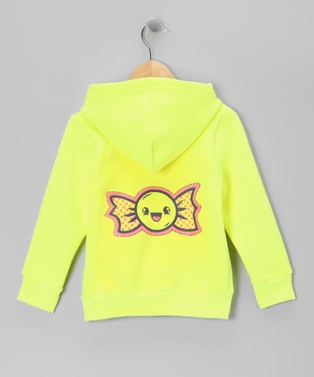 Neon Yellow Happy Candy Zip-Up Hoodie - Toddler & Girls