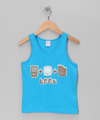 Neon Blue 'BFFS' S'mores Tank - Toddler & Girls