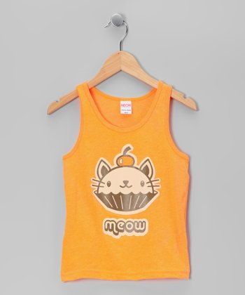 Neon Orange 'Meow' Cat Cupcake Tank - Toddler & Girls