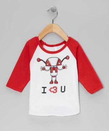Red & White Robot Raglan Tee - Infant, Toddler & Boys
