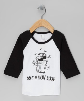 Black 'Talkin' Stache' Raglan Tee - Infant, Toddler & Boys