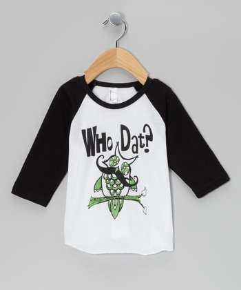 Black & White 'Who Dat?' Owl Raglan Tee - Infant, Toddler & Boys