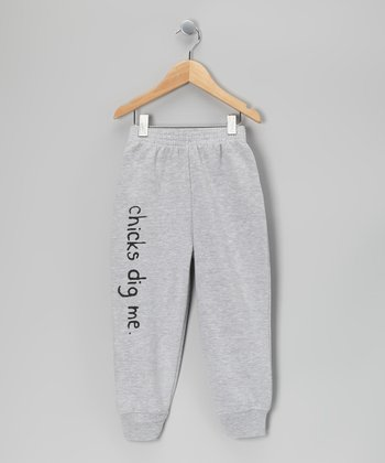 Gray 'Chicks Dig Me' Sweatpants - Toddler & Boys