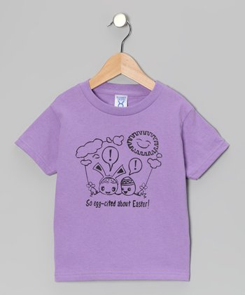 Rainbow Swirlz Lavender 'Egg-Cited' Tee - Toddler & Kids