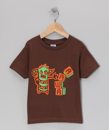 Brown 'Rawr' Block Tee - Toddler & Boys