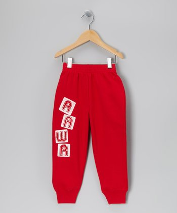 Red 'Rawr' Block Sweatpants - Toddler & Boys