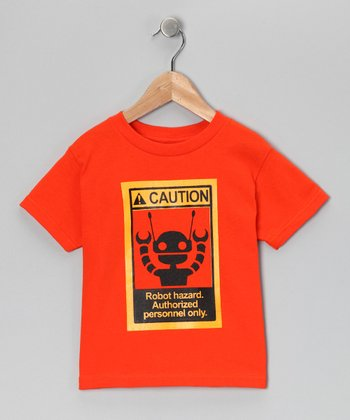 Orange 'Robot Hazard' Tee - Kids
