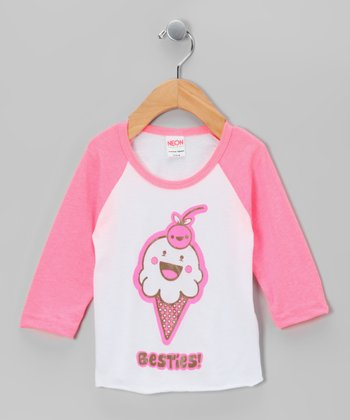 Pink & White 'Besties!' Raglan Tee - Infant, Toddler & Girls