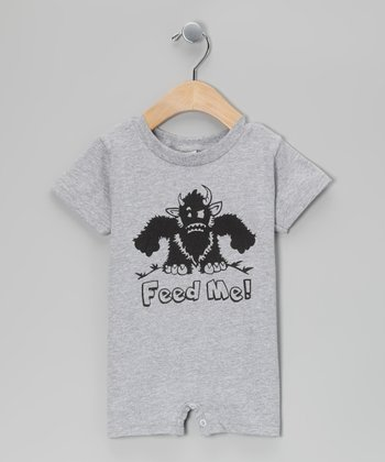 Gray 'Feed Me' Romper - Infant