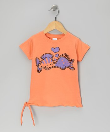 Orange Kissing Fish Tee - Toddler & Girls