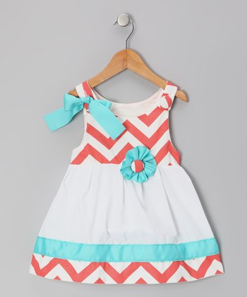 Coral & White Zigzag Lucy Mae Dress - Infant & Toddler
