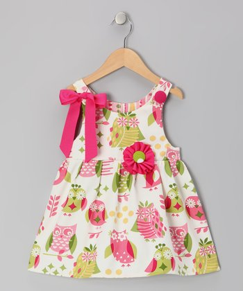 Pink & White Hoot Owl Jamie Mae Dress - Infant & Toddler