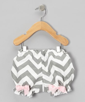 Gray Zigzag Bow Bloomers - Infant