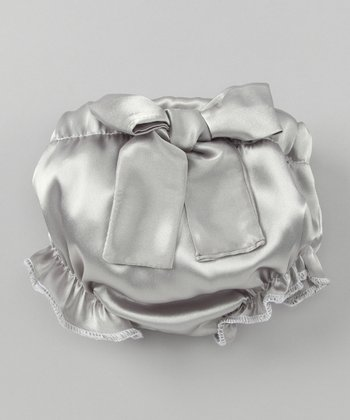 Gray Bow Ruffle Diaper Cover - Infant