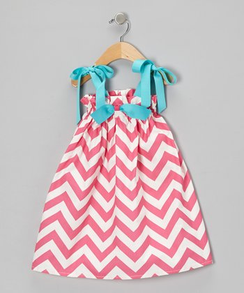 Pink Zigzag Bow Swing Dress - Infant & Toddler