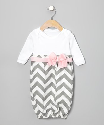 Gray Zigzag Bow Gown - Infant