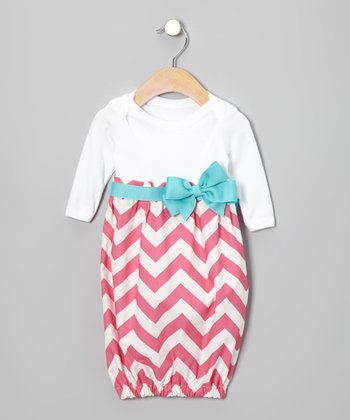 Pink Zigzag Bow Gown - Infant