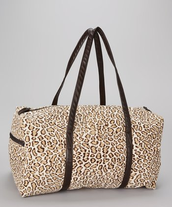 Brown & Beige Cheetah Print Duffel Bag