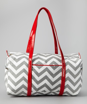 Gray & Red Zigzag Duffel Bag