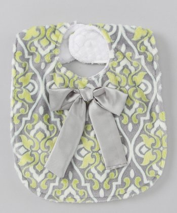Green & Gray Damask Bow Bib