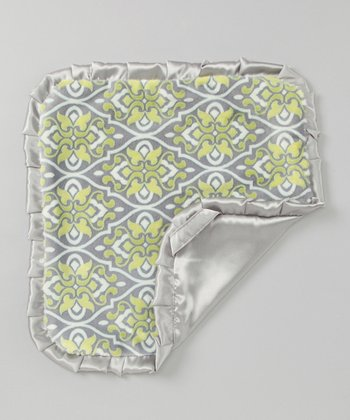 Green & Gray Damask Ruffle Security Blanket